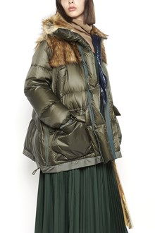 SACAI long nylon padded jacket with eco fur