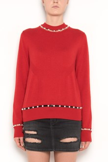 GIVENCHY Cashmere crewneck sweatshirt with cut-out pearl accents