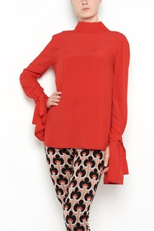 MARNI Silk blouse with long sleeves and open ruffled wrists and bow on the back
