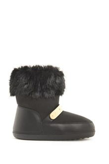 GIUSEPPE ZANOTTI DESIGN Moon boot with fur and plate with logo