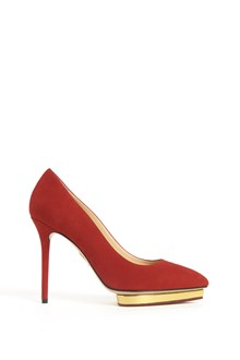 CHARLOTTE OLYMPIA 'Debbie' suede  pumps  with gold plateau