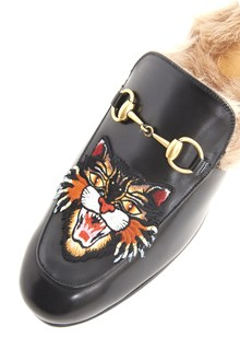 GUCCI 'Prince town' calf leather slippers with 'Angry cat' patch with fur