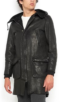 SALVATORE SANTORO lamb leather parka with fur inside and hood