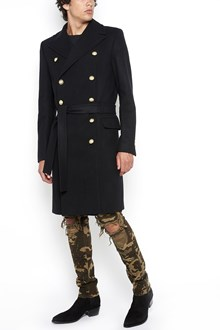 BALMAIN double-breasted long coat with gold buttons and belt