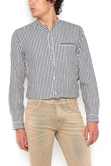 DNL cotton shirt with corean neck and stripes