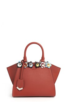 FENDI '3Jours' mini leather hand bag with strap and flower studs