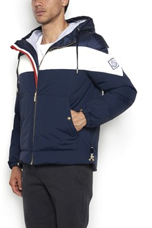 MONCLER GAMME BLEU Hooded, zipped bomber jacket with white band