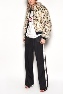 MSGM 'Lynx' printed eco-fur zipped bomber jacket