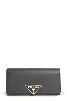PRADA leather clutch with logo