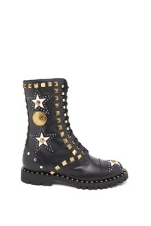 FAUSTO PUGLISI calf leather laced up boots with studs and jewels