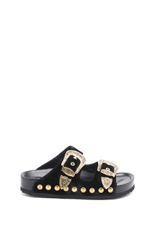 FAUSTO PUGLISI velvet and leather sandal with gold buckles