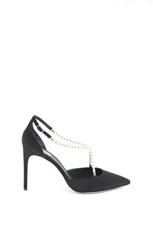 RENÉ CAOVILLA Satin pumps with pearls on strap and glittered sole