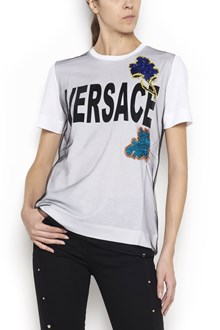 VERSACE cotton t-shirt with tulle and logo