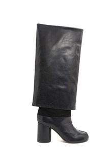 MAISON MARGIELA calf leather high 'Tabi' boots with turn-up