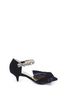 N°21 velvet sandals with bow and jeweled strap