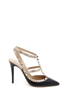 "VALENTINO GARAVANI ""Rockstud"" leather decollettè with buckles and studs"