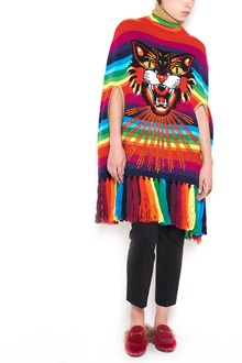 GUCCI rainbow tiger patch cape with lurex