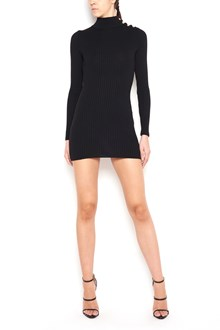 BALMAIN Mohair long sleeved mini dress with turtleneck and buttons on shoulder