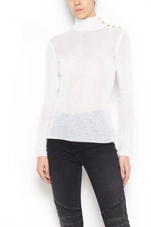 BALMAIN long sleeve turtle-neck with buttons on shoulder