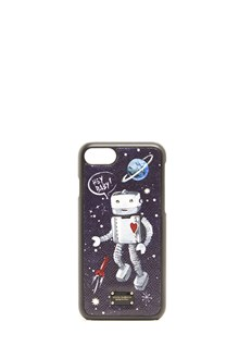 "DOLCE & GABBANA leather ""dauphine""  cover iphone 7 with robot print"