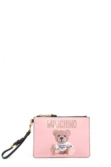 MOSCHINO clutch with print written and bear