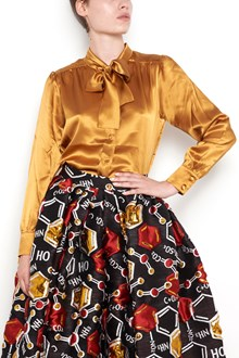 ULTRACHIC satin shirt with bow on neck