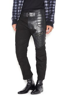 HAIDER ACKERMANN cotton trousers with leather patchs
