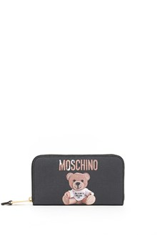 MOSCHINO around zip wallet with print written and bear