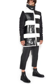 "RICK OWENS bicolour zipped coat with ""striped jumbo brother long"""