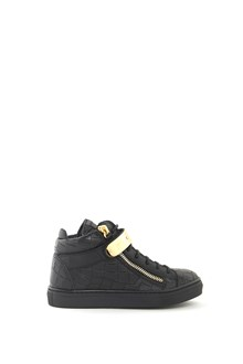 GIUSEPPE JUNIOR Leather hi-top  'Nicki Junior' sneaker with gold plate