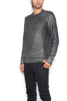 BALMAIN roundneck sweater with laminated buttons shoulder