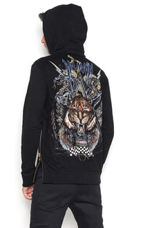 "BALMAIN zipped hoodie with ""tiger"" print back"