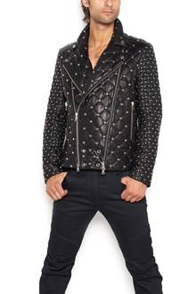 BALMAIN leather biker jacket with studs all over