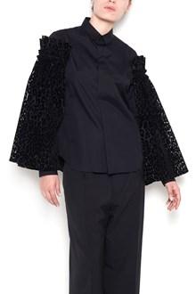 NOIR KEI NINOMIYA cotton shirt with tulle sleeves and leopart velvet  print