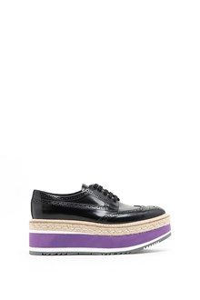 PRADA calf leather laced up shoes with platform