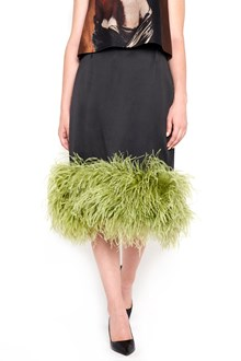 PRADA silk longuette skirt with feathers