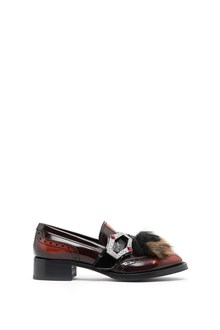 PRADA calf leather slippers with jewel buckle and fur