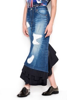 JUNYA WATANABE denim skirt with black insert and embroidery