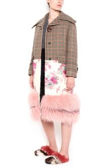 PRADA pied de poul coat with fox fur at bottom