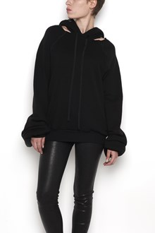 UNRAVEL cotton cashmere cut outhoodie sweater