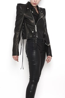 UNRAVEL leather biker jacket with shoulder pad