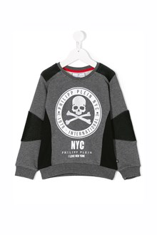 "PHILIPP PLEIN JUNIOR ""pale ny""sweatshirt with leather details and print"
