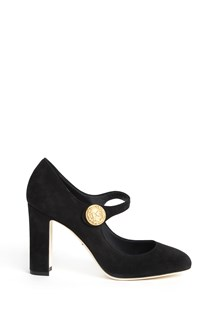 DOLCE & GABBANA 'Mary Jane' suede heel shoes with gold 'DG' detail