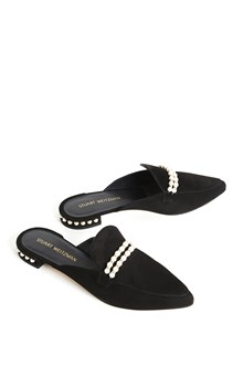 STUART WEITZMAN Suede 'Guamule' slippers with pearls