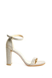 STUART WEITZMAN 'Walk  way' all over glittered sandal  with buckle closure