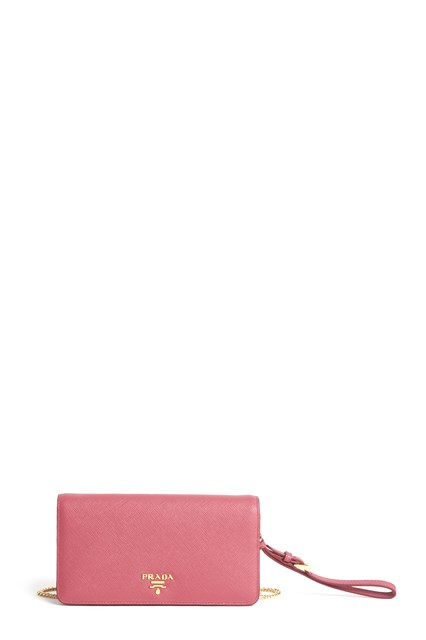 PRADA calf leather clutch with strap