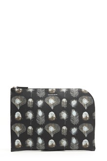 ALEXANDER MCQUEEN calf leather feathers all over printed ,zipped clutch