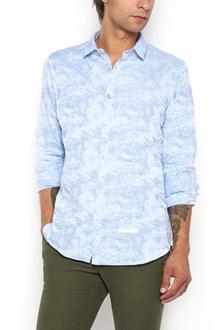 DNL Light blue camouflage printed cotton shirt
