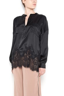 GOLD HAWK black silk and lace blouse