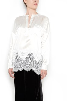 GOLD HAWK withe silk and lace blouse